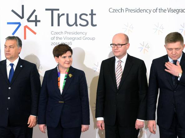 I premier Orban (ungherese), Szydlo (polacca),  Sobotka (ceco), Fico (slovacco)