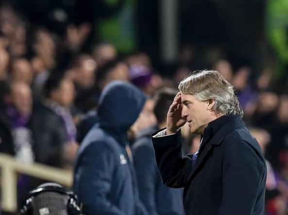 Roberto Mancini al termine di Fiorentina-Inter (Afp/Solaro)