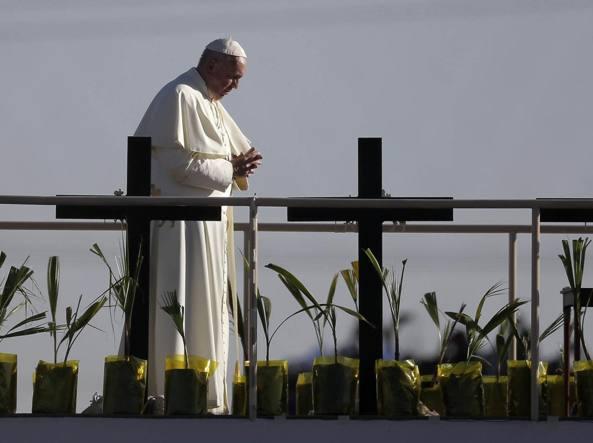 Papa Francesco a Ciudad Juarez (Afp)