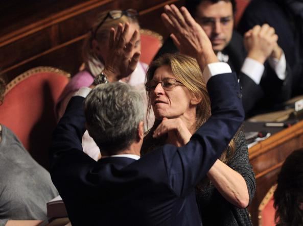 Laura Bottici inveisce contro Alessandra Bencini (Lapresse)