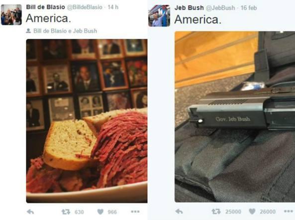 I due Tweet: a sinistra il panino pubblicato da de Blasio, a destra la pistola di Bush (Twitter)