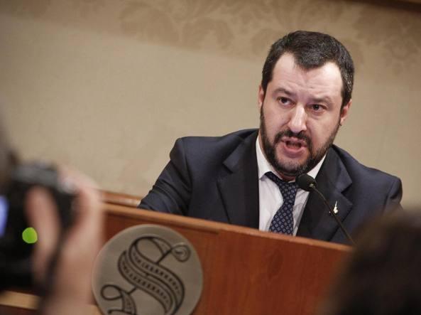 Matteo Salvini in conferenza stampa al Senato (Jpeg)