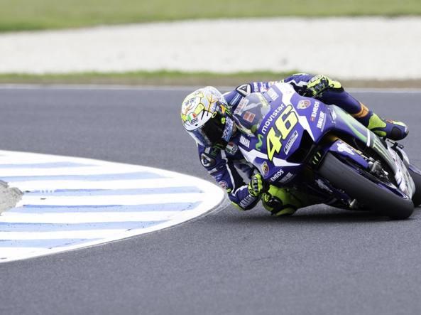 Valentino Rossi durante il terzo giorno di prove (Afp/Karanikos)