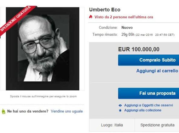 La schermata di eBay in cui viene messa in vendita la tesi di Eco