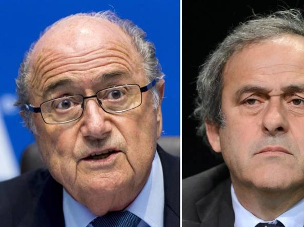 Joseph Blatter, 79 anni, presidente  Fifa e Michel Platini, 60 anni, presidente Uefa (Afp)