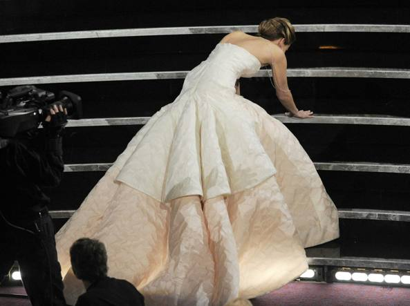 La caduta agli Oscar del 2013 (Ap)