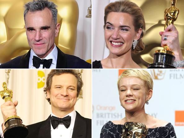 La maggior parte degli attori inglesi che hanno scalato Hollywood provengono da scuole private d'�lite: cos� Daniel Day Lewis (in alto a sinistra), Kate Winslet (in alto a destra), Carey Mulligan (in basso a destra). Fa eccezione Colin Firth (in basso a sinistra) che  ha frequentato  un liceo pubblico
