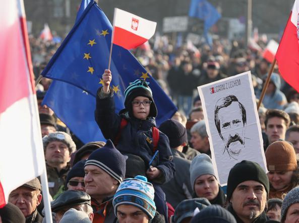 In piazza per Lech Walesa a Varsavia