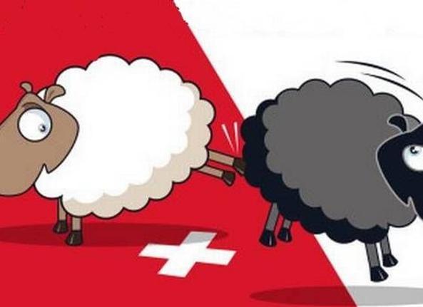 Un manifesto della campagna anti stranieri in Svizzera