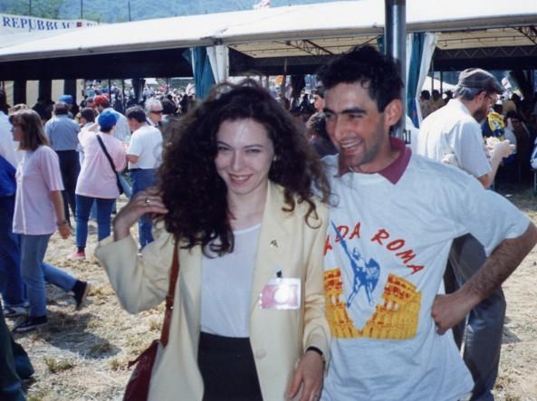 Irene Pivetti al raduno della Lega Nord a Pontida con Daniele Belotti nel 1992