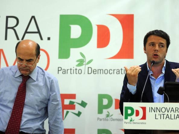Bersani e Renzi nel 2012 (Ansa)