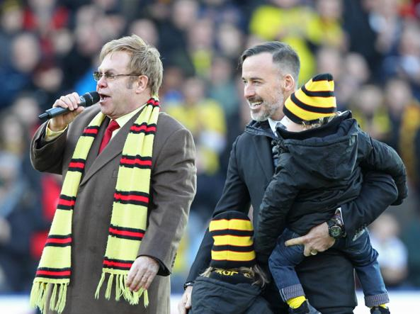 Elton John con il marito David Furnish e i figli  Zachary ed Elijah (Foto Action Image)