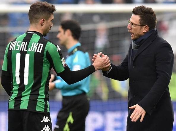 Eusebio di Francesco (a destra) con Sime Vrsaliko (Getty/Bellini)