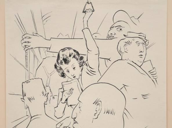 Ancora due fermate, un'illustrazione originale dell'artista Giuseppe Novello
