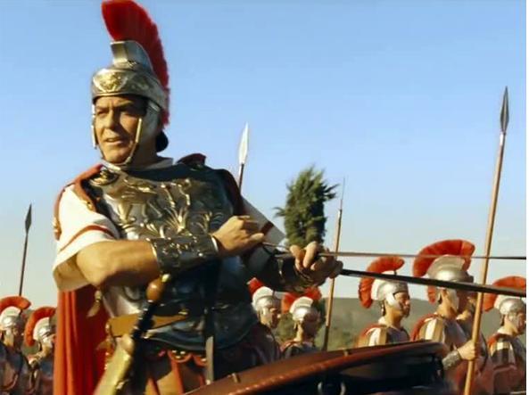 Il centurione George Clooney (54 anni) in una scena di «Ave, Cesare!», il nuovo film dei fratelli Coen