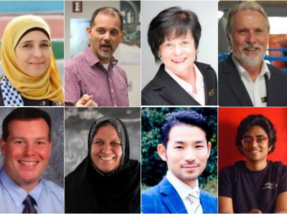 Otto dei dieci finalisti del Global Teacher Prize 2016: da sinistra in alto, Hanan Al Hroub, Joe Fatheree, Maarit Rossi, Richard Johnson. Da sinistra in basso: Michael Soskil, Aqeela Asifi, Kazuya Takahashi, Robin Chaurasiya (foto: Varkey Foundation)