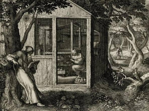 Raphael Sadeler I (1561-1632), I santi Palemone  e Pachomio (1598 circa, stampa)