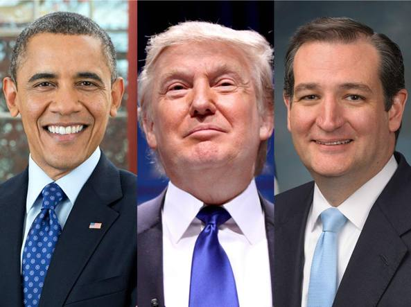 Sia Donald Trump (al centro), il frontrunner repubblicano,  che il suo rivale  Ted Cruz (a destra) hanno attaccato il presidente Barack Obama (a sinistra) per il Common Core, le  linee-guida  federali per l'apprendimento della lingua inglese e della matematica