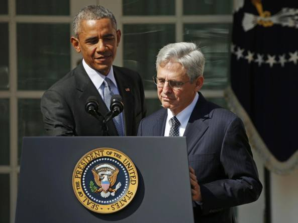 Il giudice Merrick Garland con il presidente Obama a Washington (Reuters)