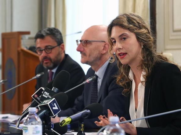 Samaritani, Francesco Caio (ad di Poste) e Marianna Madia, ministro per la Pa (foto Ansa)