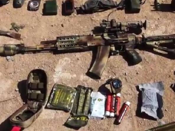 Una foto diffusa dall'Isis: si tratterebbe delle armi in possesso di un consigliere russo ucciso a Palmira