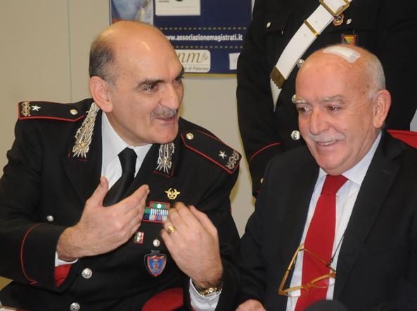 Il comandante dei Ros Giuseppe Governale e il Pm Vittorio Teresi (Fotogramma)