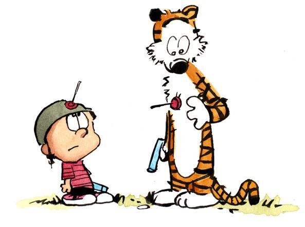Calvin e Hobbes, il bambino e la tigre di pezza