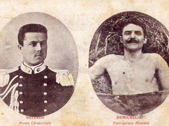 Una cartolina che ricorda la morte del «famigerato Biondin» ad opera del «prode carabiniere Soverini»