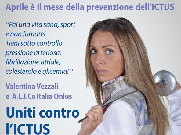 La locandina di A.L.I.Ce. Italia Onlus per il mese della prevenzione: testimonial Valentina Vezzali