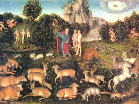 Un'opera del pittore rinascimentale tedesco Lucas Cranach il Vecchio (1472-1553), Adamo ed Eva nel giardino dell'Eden, 1530, Vienna, Kunsthistorisches Museum