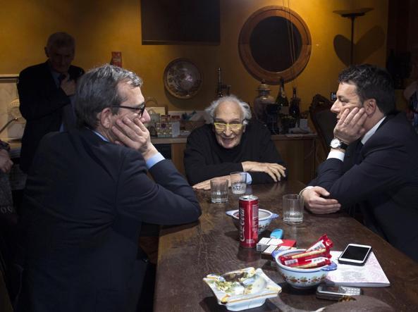 Matteo Renzi e Roberto Giachetti da Pannella (Ansa)