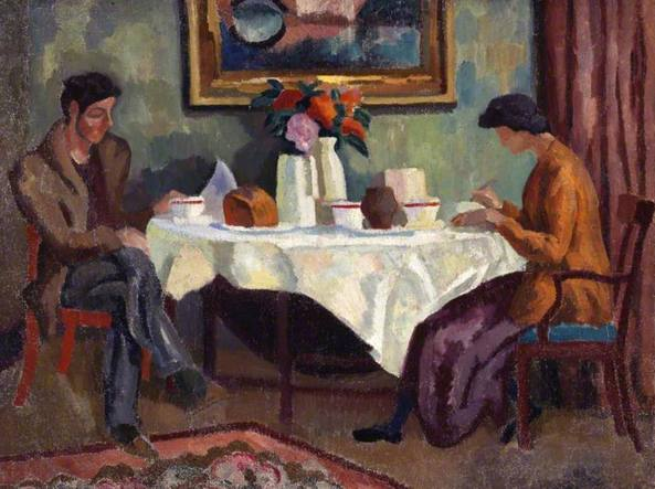 Roger Fry, The breakfast table (1918 circa, Aberdeen Art Gallery)
