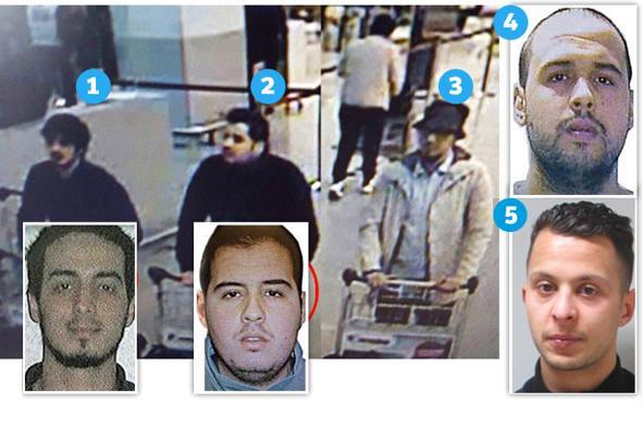 1. Najim Laachraoui, l'�artificiere�,   identificato come uno dei due kamikaze  all'aeroporto; 2. Ibrahim El Bakraoui, 30enne (nel riquadro la foto segnaletica); 3. Il terrorista in fuga: non identificato; 4. Khalid El Bakraoui, 27 anni, kamikaze della metro e fratello di Ibrahim; 5. Salah Abdeslam, arrestato nei giorni scorsi