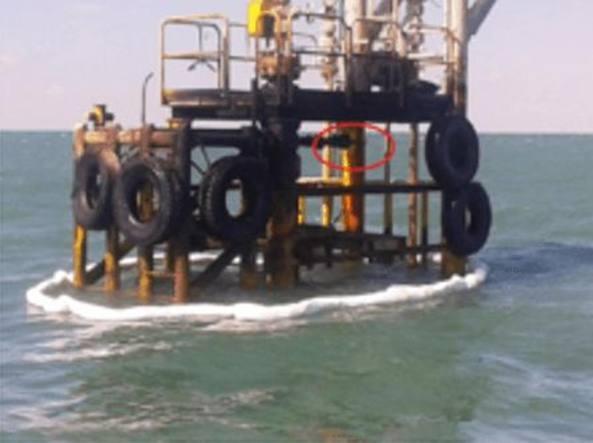 Nel cerchio rosso la zona dell'avaria del pozzo Cercina 7 (Thyna Petroleum)