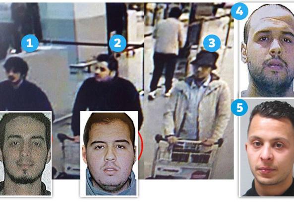 1. Najim Laachraoui, l'«artificiere», identificato come uno dei due kamikaze all'aeroporto; 2. Ibrahim El Bakraoui, 30enne (nel riquadro la foto segnaletica); 3. Il terrorista in fuga: non identificato; 4. Khalid El Bakraoui, 27 anni, kamikaze della metro e fratello di Ibrahim; 5. Salah Abdeslam, arrestato nei giorni scorsi