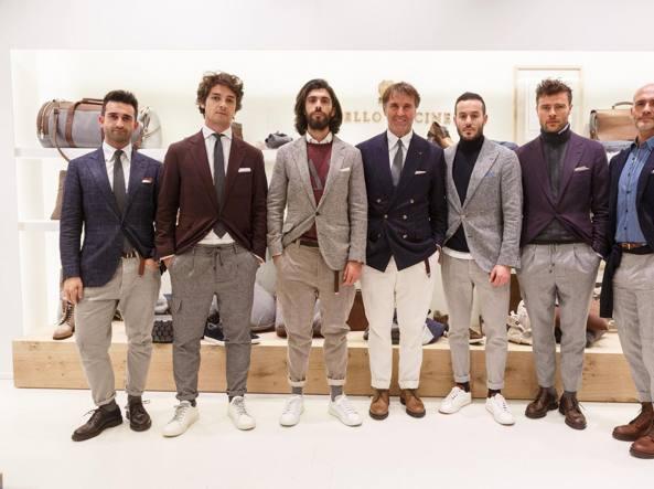 Brunello Cucinelli con i suoi modelli
