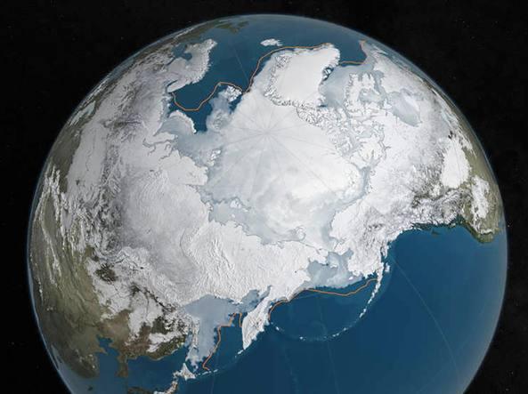L'estensione massima invernale della calotta artica il 24 marzo 2016 (Nasa)
