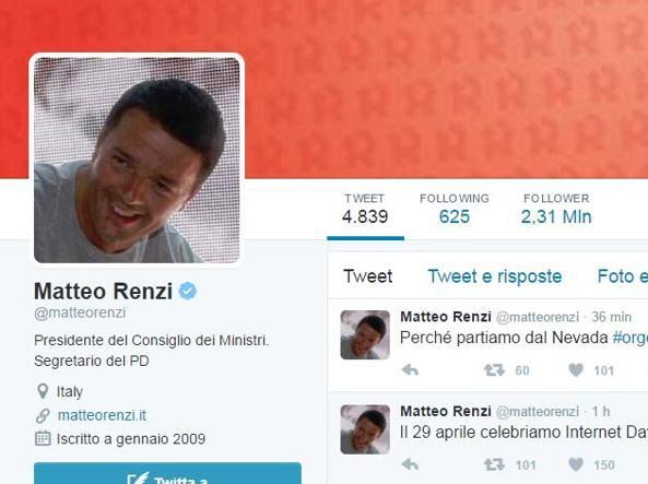 Il profilo Twitter di Matteo Renzi