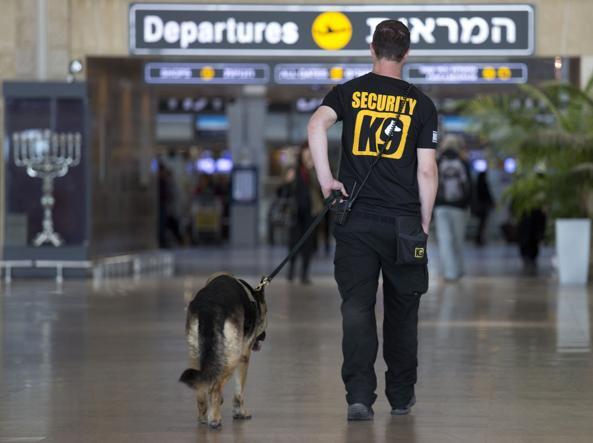 Un agente della sicurezza con il cane anti-esplosivo all'interno dell'aeroporto �Ben Gurion� di Tel Aviv, in Israele (foto di Ariel Schalit / Ap)