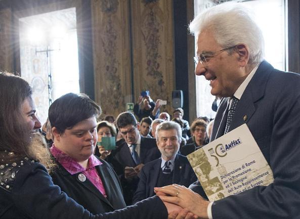 Il Presidente Sergio Mattarella ieri alla cerimonia per «La Giornata delle persone con disabilità»