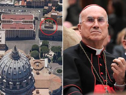 Nel cerchio rosso l'appartamento, a destra il cardinale Bertone