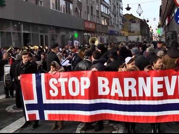 Una delle manifestazioni in solidarietà della famiglia Bodnariu e contro i metodi «disumani» della Barnevernet