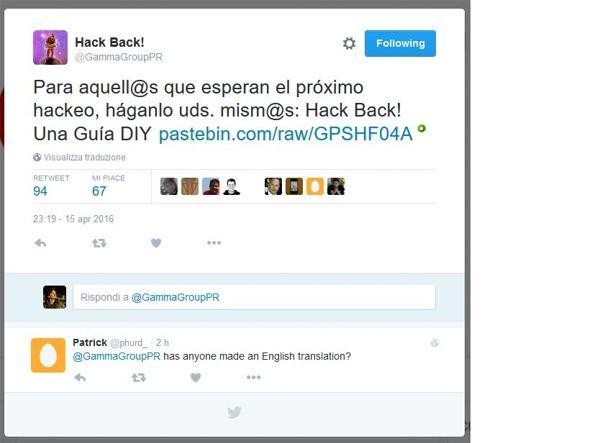 Il tweet nel quale è stato annunciata la pubblicazione del documento