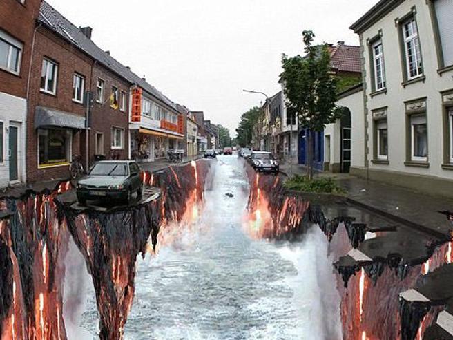 Buchi e voragini nell'asfalto, ma sono le meraviglie della 3d street art