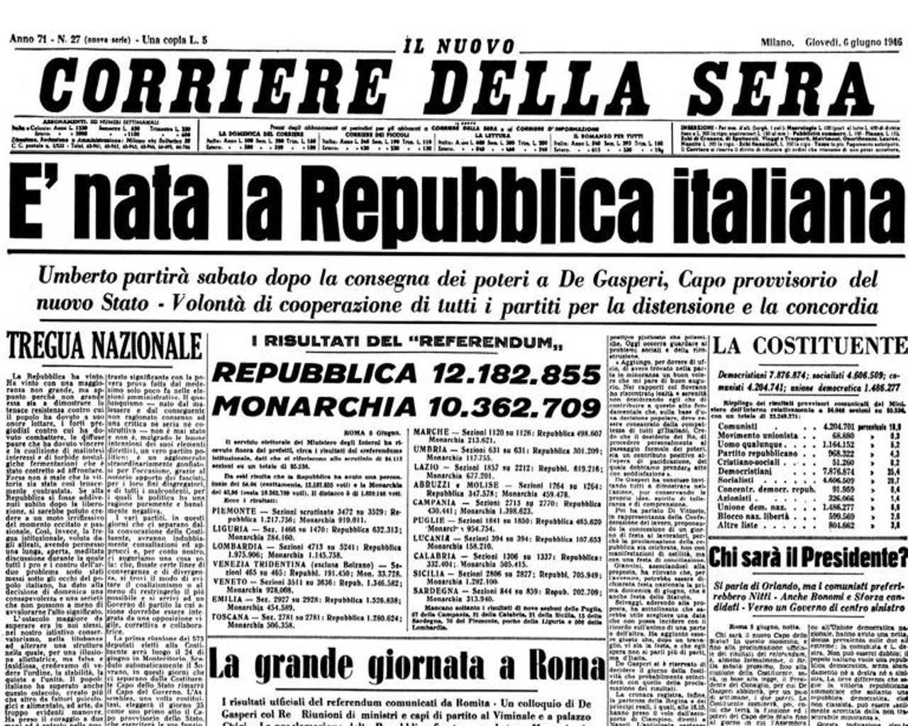 Quando l italia si scopr repubblicana for Repubblica italiana nascita