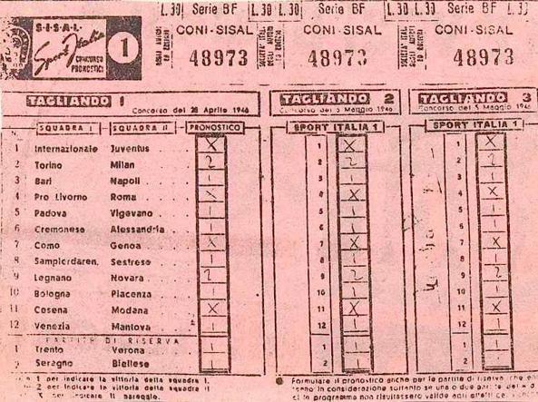 La schedina del primo concorso, risalente al 5 maggio 1946