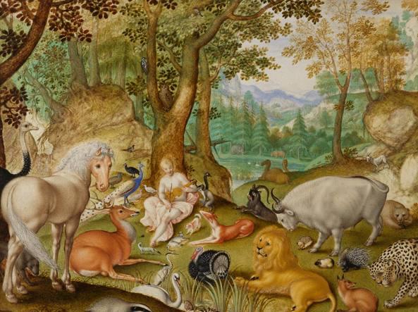 Jacob Hoefnagel (1573-1632), Orfeo incanta gli animali con la musica (1613)
