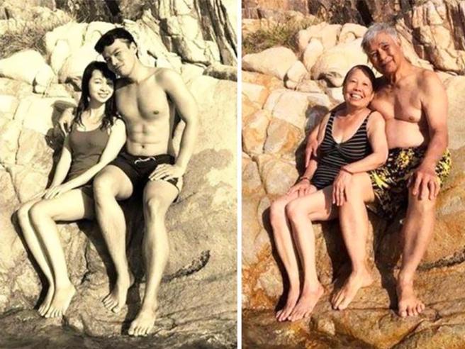 Vita di coppia: la stessa foto, oggi e ieri