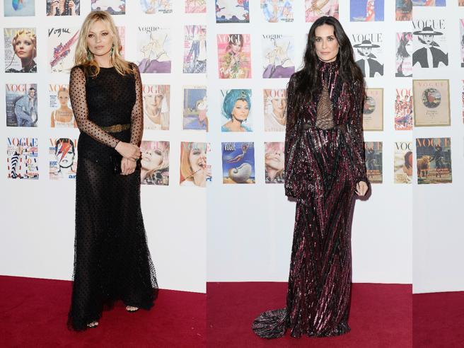 Kim Kardashian, Demi Moore, Kate Moss: scollature e trasparenze al party di Vogue. E Claudia Schiffer è irriconoscibile