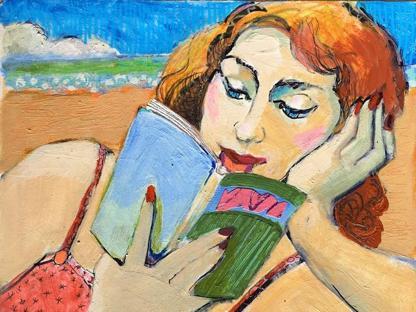 �Woman Reading At The Beach� di Marie Fox